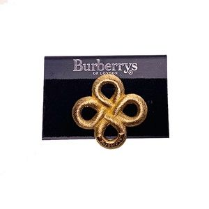 VTG 90s Burberry Gold Tone Rope Knot Pin Brooch NW
